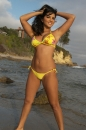 Sunny Leones Yellow Bikini At The Beach picture 4
